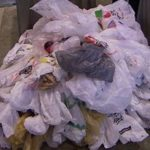 Large pile of plastic shopping bags