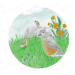Birds Among the Grass and Flowers Drawing
