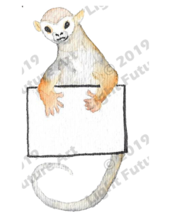 Monkey Watercolor with Message Board
