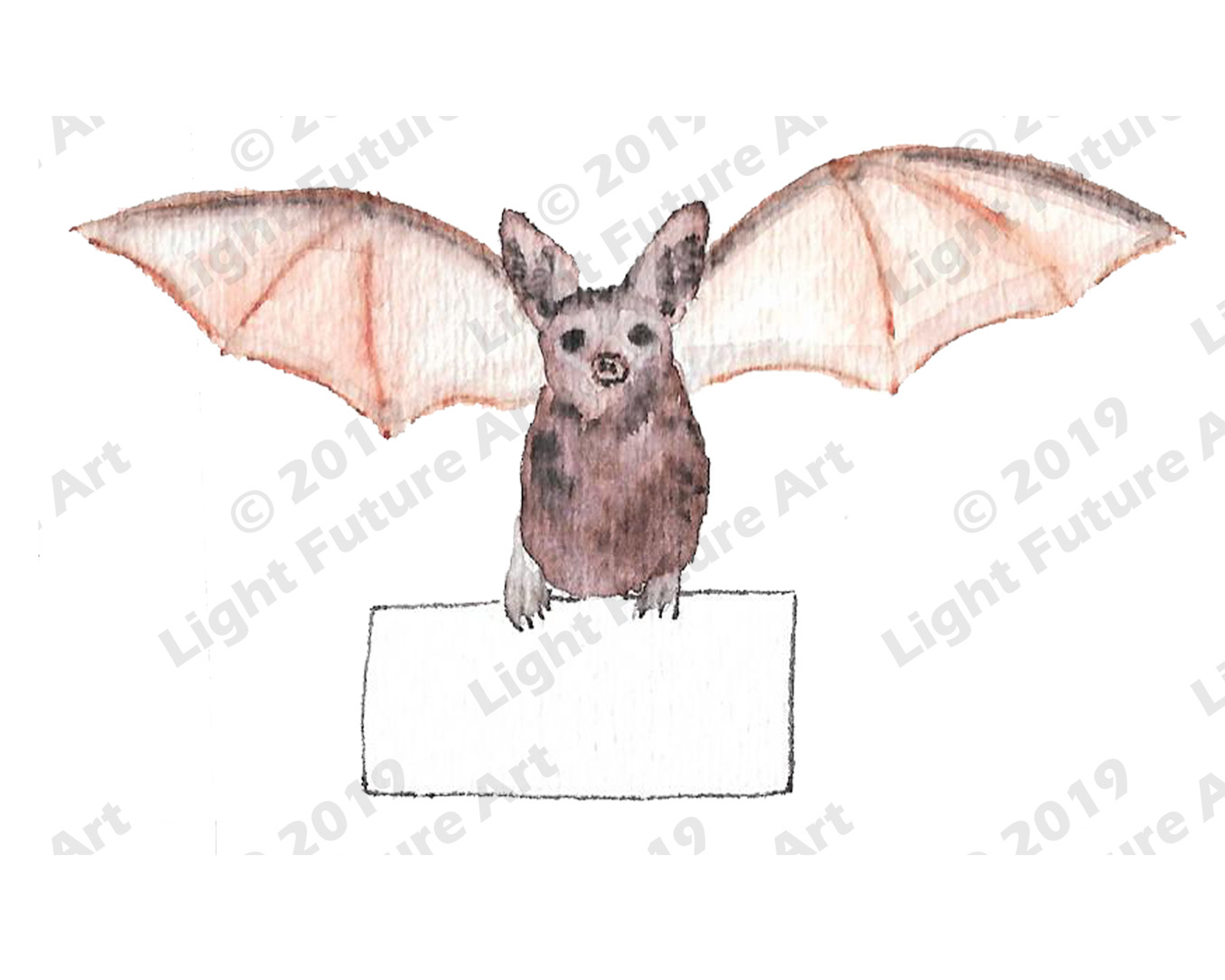 Watercolor Bat Holding Sign