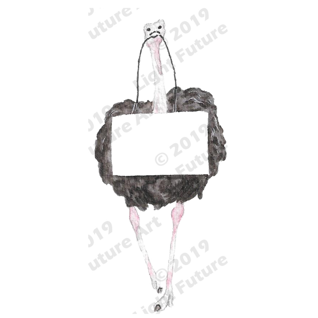 Fancy Watercolor Ostrich with Sign