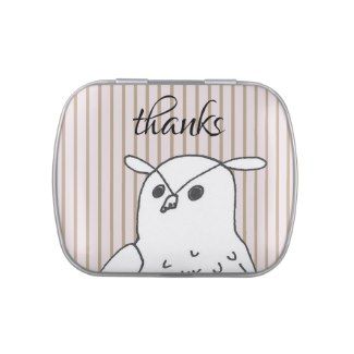 Thank You Candy Tin Owl with Stripes