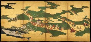 Japanese Colorful Screen Painting